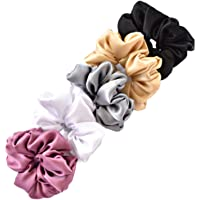 Satin Silk scrunchies for women and girls, ponytail holder set of 5 (Classic-1)