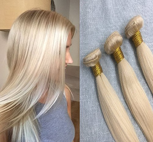 """Ugeat 3 Paquetes Extensiones de Cabello Natural Remy Real Brasileno Human Hair Weave Rubia 613# 300 Gramo 18""""+18""""+18"""""""