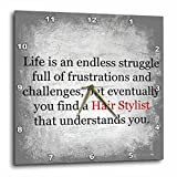 """15 by 15 : 3dRose dpp_201918_3 Life is an Endless Struggle Until You Find a Hair Stylist Wall Clock, 15 by 15"""""""