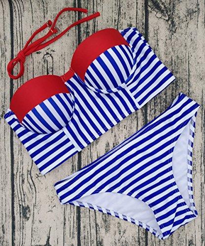 Fuxiang Damen Casual Bikini-Set Blau
