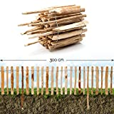 Roll-Steckzaun Haselnuss · Staketenzaun als Beeteinfassung zur Einzäunung und Abgrenzung von Beeten und Wegen · 35 x 300 cm ( Lattenabstand 3-4 cm )