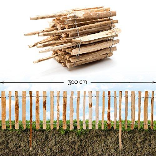 *Roll-Steckzaun Haselnuss · Staketenzaun als Beeteinfassung zur Einzäunung und Abgrenzung von Beeten und Wegen · 35 x 300 cm ( Lattenabstand 3-4 cm )*