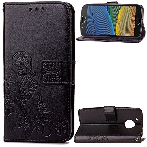 Double Magnetic Back Sucktion Retro Style PU Leder Flip Stand Case mit Kickstand und Wallet Beutel Funktion für Motorola Moto G5 ( Color : Black ) Black