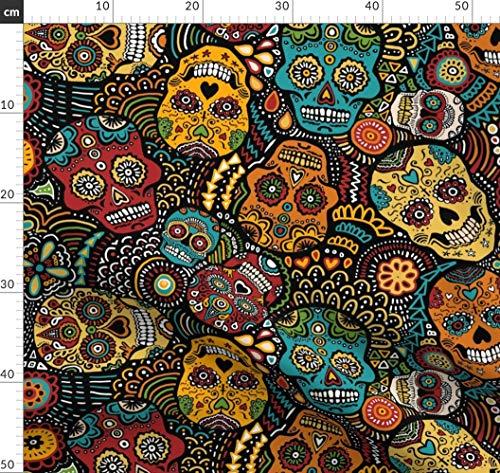 Calavera, Zuckerschädel, Tag Der Toten, Totenkopf, Mexiko, Halloween Stoffe - Individuell Bedruckt von Spoonflower - Design von Lusykoror Gedruckt auf Jeansstoff (Individuell Bedruckte Halloween Taschen)