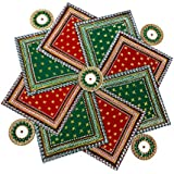 SBD Handmade Designer Auspicious Red & Green Swastik Shaped Rangoli -Beautifully Decorated With Jewel Stone Decorations , Golden Lace & Red And Green Accents -13 Pieces Set - Packed In Crystal Box