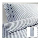 IKEA NYPONROS Bettwäscheset in weiß/blau; 2tlg. (155x220cm und 80x80cm); Kopfkissen und Bettbezug; 100% Baumwolle