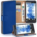 moex HTC One M7 | Hülle Blau mit Karten-Fach 360° Book Klapp-Hülle Handytasche Kunst-Leder Handyhülle für HTC One M7 Case Flip Cover Schutzhülle Tasche