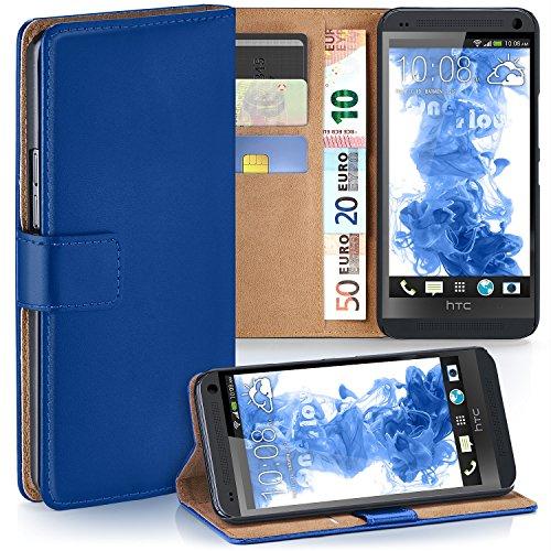 OneFlow PREMIUM - Book-Style Case Custodia con design portamonete e funzione stand per HTC ONE M7 - ROYAL-BLUE