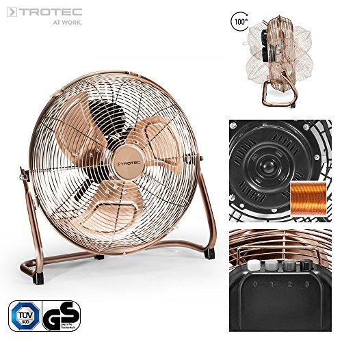 TROTEC TVM 13 Bodenventilator Kupfer Design Ventilator/Windmaschine | 3 Geschwindigkeitsstufen | 44 Watt Leistung | Durchmesser 35 cm (13-gebläse-motor)