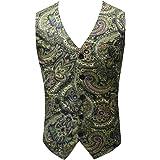 LaoZanA Men's Floral V-Neck Casual Slim Fit Wedding Waistcoat Suit Vest