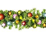 Queens of Christmas wl-garbm-09-trop-lww beleuchteter LED Blended Kiefer Christmas Garland verziert mit der Tropische Ornament Collection, 9', warm weiß