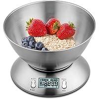 himaly Balance de Cuisine Electronique 5 kg/1g en Acier INOX avec Grand Ecran Rétroéclairé, Bol Amovible, Minuterie avec…