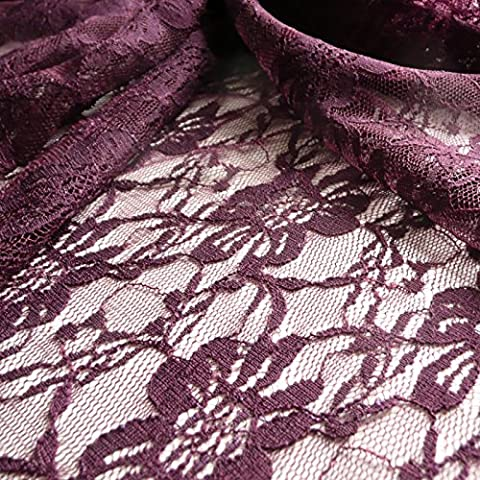 Morado elástico suave Floral Vestido Tela de Encaje–150cm de ancho–se vende por
