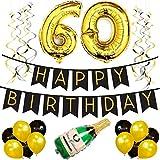 Sterling James Co. 60. Happy Birthday Girlande – Schwarz & Gold Deko Geburtstag, Luftballons, Pom Poms und Spiralgirlande Silber – Party Zubehör