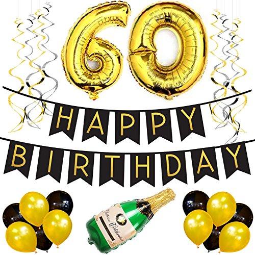 Paquete para Fiesta de Cumpleaños Número 60 – Paquete con Banderín de Feliz Cumpleaños Negro y Dorado, Pompones y Serpentinas- Decoración para Cumpleaños – Artículos para la Fiesta de Cumpleaños 60