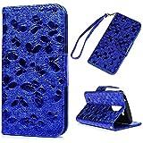 LG K7 Wallet Case LG K7 Handyschale YOKIRIN Premium 3D Effekt Bunter Schmetterling PU Ledertasche Schutzhülle Hülle Etui Tasche Schutz Bumper Flip Case Buchstil Klapptasche in Lederoptik Karteneinschub und Magnetverschluß Blau