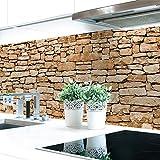 Küchenrückwand Naturstein Braun Premium Hart-PVC 0,4 mm selbstklebend 340x60cm