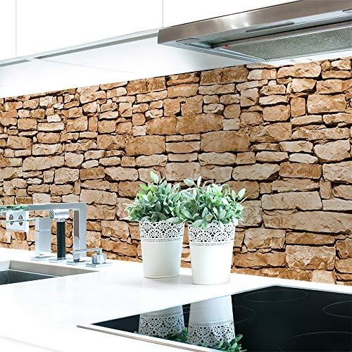 Küchenrückwand Naturstein Braun Premium Hart-PVC 0,4 mm selbstklebend - Direkt auf die Fliesen, Größe:Materialprobe A4