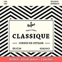 Cordes en nylon de première qualité pour guitare classique & guitare acoustique (lot de 6 cordes) ♫ BONUS : Ebook gratuit + 3 plectres