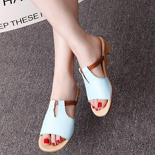 Lgk & fa estate sandali da donna d' estate con la pendenza con antiscivolo Drag una parola trascinare Cold mop blue