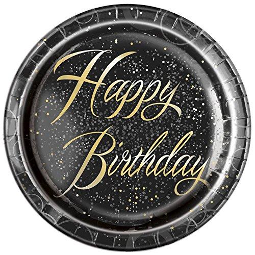 Unique Party Paquete de 8 platos de papel de cumpleaños Color dorado metálico brillante 23 cm 57495