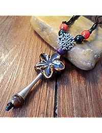 10ae30d2a503 Tery Elegante Collar Precioso Señoras Vintage Estilo étnico Estrellas de  mar Corto Colgante de cerámica Collar