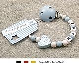 Produkt-Bild: kleinerStorch kS-038-1 Baby Schnullerkette mit Namen - Schnullerhalter mit Wunschnamen - Jungen Motiv Herz, babyblau