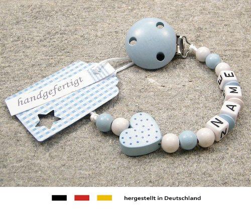 kleinerStorch kS-038-1 Baby Schnullerkette mit Namen - Schnullerhalter mit Wunschnamen - Jungen Motiv Herz, babyblau