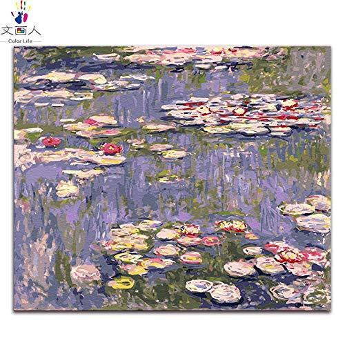 6100 Kit (KYKDY Seerosen gemälde bilder nach zahlen Claude Monet digitale malen zeichnung Malen nach zahlen mit kits paket, seerose 6,100x80 kein rahmen)