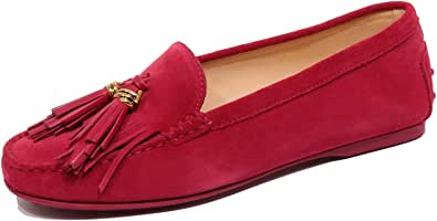 F9694 Mocassino Donna Magenta Pink Tod'S Scarpe Suede Shoe Loafer Woman