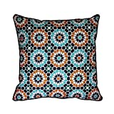 43 x 43cm Moroccan Geometric Design Original Tiles Cushion Pillow Cover - Colours: Navy, Jade, Turquoise, Green - for Sofa Bed Gift Home Decor Cushion - Original Tiles