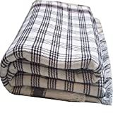 Sparsh Handloom Single Black and White Cotton Checkered Khes, Blanket, Comforter,