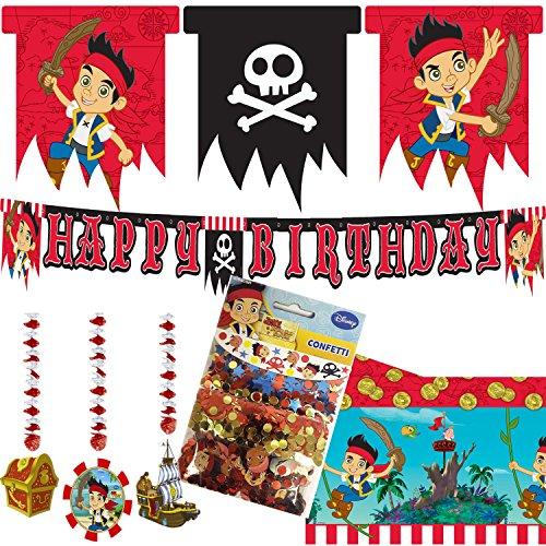 (50-teiliges * JAKE & THE NEVERLANDS * Party Deko Set für Kindergeburtstag mit Tischdecke + Wimpelkette + Happy Birthday Banner + Hängedeko + Konfetti + uvm. // Pirat Seeräuber Jungen Schatz)