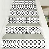 Treppen Aufkleber, 3D Schwarz Weiß Ton Mosaik Muster Print Vinyl, Home Cafe Bar Treppe Fliesen Dekoration 6 stücke