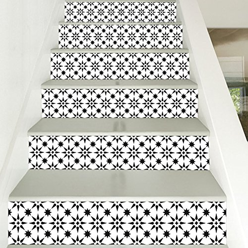 Treppen Aufkleber, 3D Schwarz Weiß Ton Mosaik Muster Print Vinyl, Home Cafe Bar Treppe Fliesen Dekoration 6 stücke (Schwarz-vinyl-fliesen)