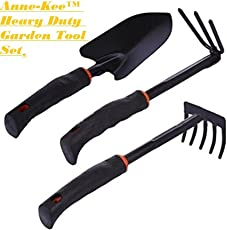 Anne -Kee 3Pcs Garden Tool Sets Spade 5 Tooth Rake Dual Purpose Rake Gardening Accessories Camping