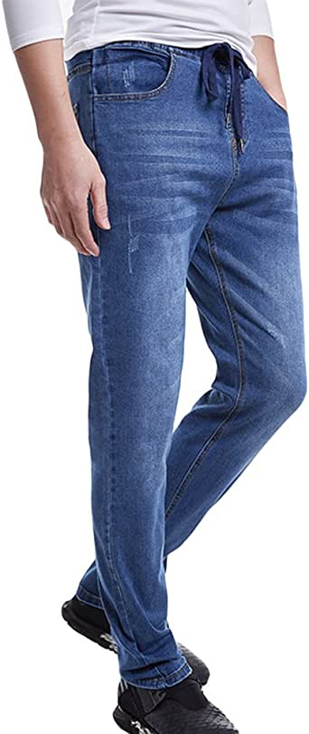 Heheja Uomo Tempo Libero Straight Fit Denim Pantaloni Taglia Grossa Elasticit/à Vita Alta Jeans