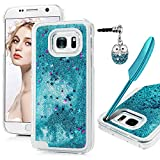 S7 Case, MAXFE.CO Clear Glitter Case Made for Samsung Galaxy S7 Shiny Sparkle Star Shape Liquid Floating Plastic Case for Samsung S7 & One Touch Pen & One Dust Plug, Turquoise