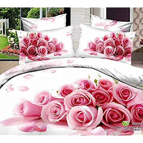 Pieza (3-7)100% algodón orgánico rosa rosa 3D Hoja de cama para niña ropa de cama sábanas set queen cama king size cubierta tapa