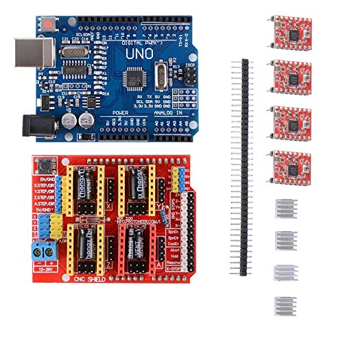 3D Printer Kit with CNC Shield V3.0 + UNO R3 Board W/USB Cable + 4pcs A4988 Stepper Motor Driver with Heatsink for 3D Printer