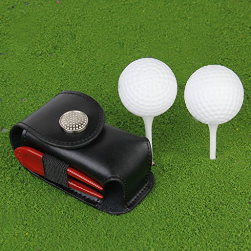 Generic Golf Ball Holder Pouch Bag with Portable Leather Clip Black