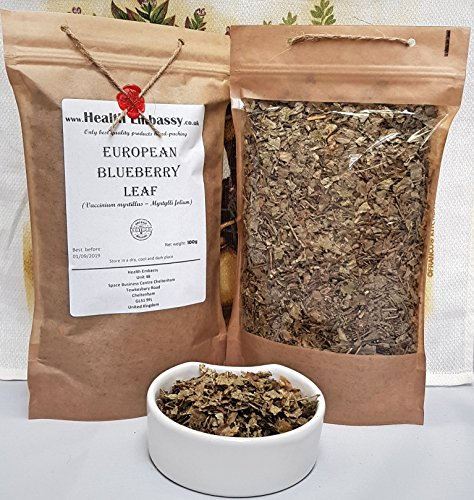 Blueberry-blatt-tee (Heidelbeere Blatt (Vaccinium myrtillus – Myrtylli folium) 100g / European Blueberry Leaf 100g - Health Embassy - 100% Natural)