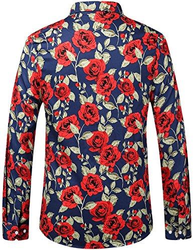 SSLR Herren Rose Druck Button Down Freizeit Langarm Hemd Blau