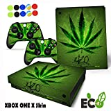 'Morbuy Xbox One X Skin Sticker Personal Green Cannabis Style Decal Vinyl Sticker Pattern Series Skin Cover Full Sticker For Console & 2 Controllers + 10pc Silicone Thumb Grips (style 1)