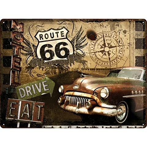 Route 66 Caddilac 50s 60s American Auto Motel Diner 3D Metall/Stahl Wandschild - 40 x 30 cm