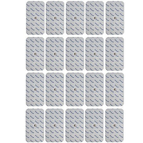 SPARPAKET: 20 Stück - 12x7cm GROSSE Elektroden Pads, kompatibel zu Compex EMS TENS Geräten mit Druckknopf Snap Anschluss