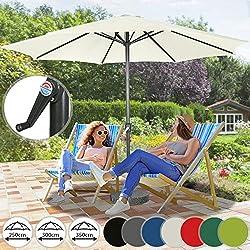 Miadomodo Parasol de Jardin | Ø2,5/3/ 3,5m, Diverses Couleurs au Choix, Inclinable, avec Manivelle | Parasol pour Patio, Jardin, Balcon, Piscine, UV Solaire Protection