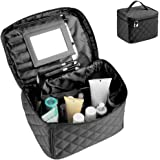 Makeup Cases With Big Clear Mirror Train Cases Full Of Capacity Cosmetic Travel Bag For Organize Makeups(Black)