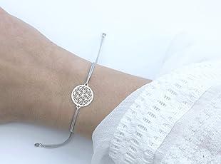 SCHOSCHON Damen Blume des Lebens Armband, Silber-Grau, 925 Silber, Lebensblume Schmuck