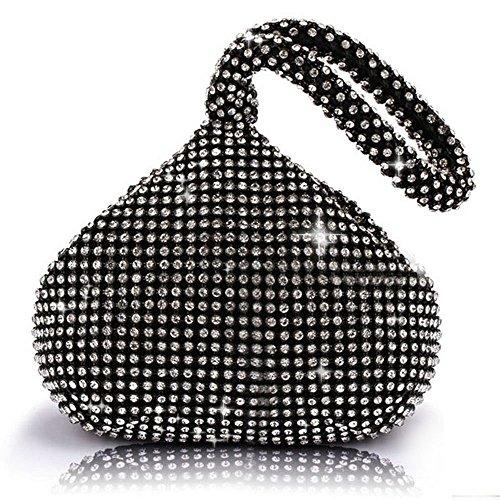 J&G dreieckige Rhinestone Strass Damen Unterarmtasche Abendhandtasche Party Tasche Hochzeit Handtasche (Schwarz) -